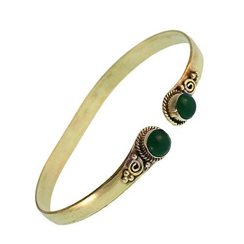 Echte Jade-armreif (Chic-Net Messing Armreif golden grün Jade rund acht Zopfrand nickelfrei verstellbar antik Tribal Schmuck)