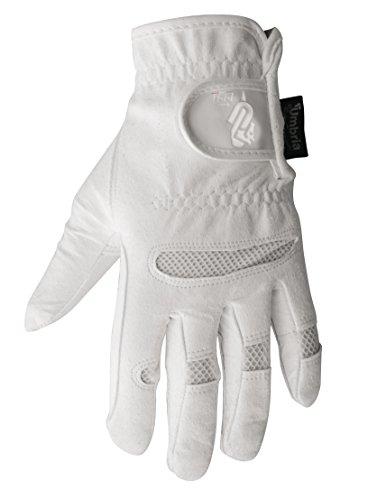 Kinder Handschuhe aus Leder Synthetik Amara mit elastischen Einsätzen und Klettverschluss, Umbria Reiten, Junge, Pferd, Pferde, bianco, 8 Jahre