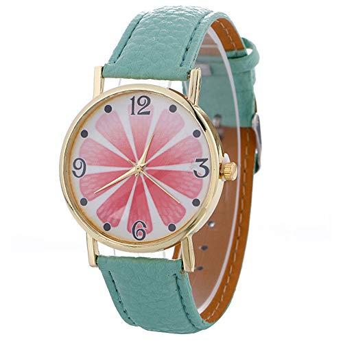 Damen lederarmband Uhren Armbanduhr Einfaches Design Geschäfts Casual Kreatives Muster Uhr Leuchtende Analog Legierung Quarz PU-Ledergürtel-beiläufige Art und Weise Kleid Uhr für Frauen (Minzgrün)