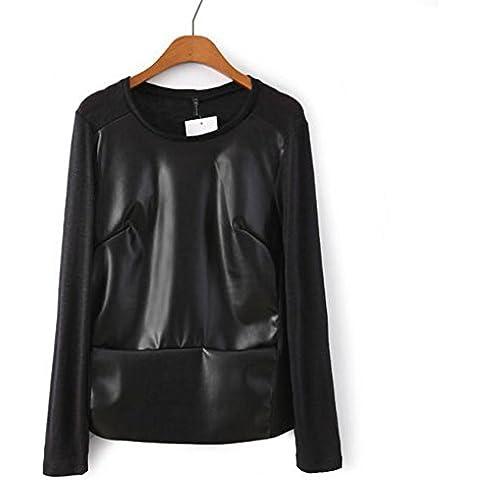 Jerseys de punto suave de cuello redondo manga larga de las mujeres , figure color , s