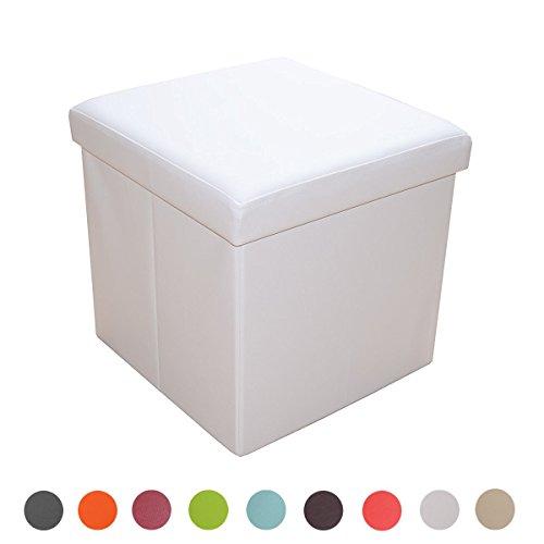 Stylehome Sitzhocker Sitzbank Aufbewahrungsbox mit Stauraum Faltbarer Sitzwürfel belastbar bis 300 kg Kunstleder 38 x 38 x 38 cm (Weiß)