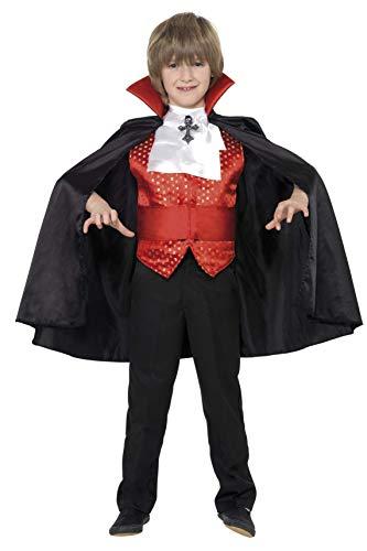 Kostüm Dracula Kinder - Smiffys, Kinder Jungen Dracula Kostüm, Umhang, Kummerbund, Krawatte und Weste, Größe: M, 35830