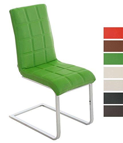 Preisvergleich Produktbild CLP Freischwinger Emily mit hochwertiger Polsterung und Kunstlederbezug I Ergonomischer Schwingstuhl mit Metallgestell und Einer Sitzhöhe von: 50 cm Grün