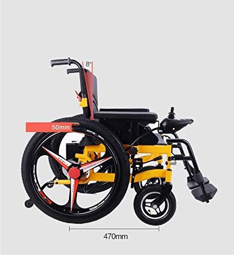 TYZXR Rollstuhl Elektrorollstuhl - Best Folding Motorisierte Elektrorollstühle Lightweight Best Heavy Duty Lithium Batterie Electric Power (Gelb) -