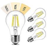 linovum® 4er Set fourSTEP Dim LED E27 Birne mit 4-Schritt-Dimmung 'Dimmbar mit jedem Lichtschalter' - 6W 600lm 2500K warmweiß