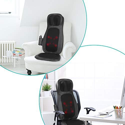 Naipo Shiatsu Sedile Massaggiante Elettrico Massaggio Cuscino Schiena Massaggiatore per Collo e Schiena, Sedile di Vibrazione, Funzione di Calore per Casa Ufficio Auto