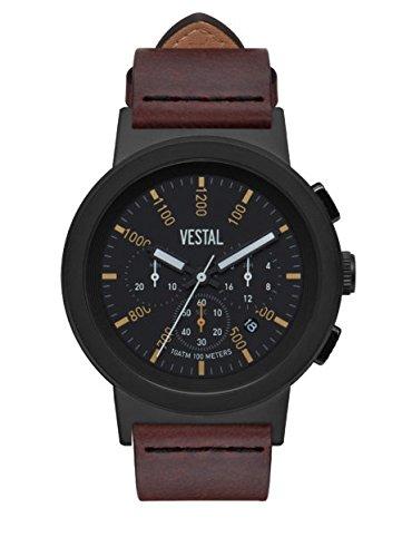 Vestal Reloj de cuarzo de acero inoxidable y cuero, color: marrón (modelo: SLR44CL03.CVBK)