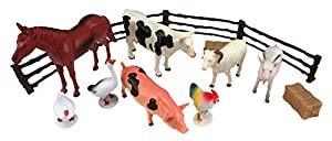 Wenno USA National Geographic Bucket of Farm Animals Figurines, 14 Pieces