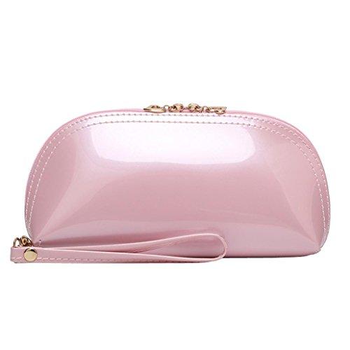Donna portafoglio in pelle pochette lungo portamonete donna tinta unita cerniera brillante superficie frizione borsa moneta borsa del telefono morwind (rosa)