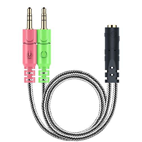MillSO 3,5mm Klinke Adapter - Y Splitter Audio Kabel mit Separater Mikrofon und Kopfhörer Stecker für PC, PS4 Gaming Headset - 20CM Schwarz Pc Headset-adapter