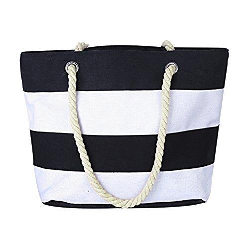 Damen Strandtasche Schultertasche - LOSORN ZPY Canvas Bag Welle Reisetasche