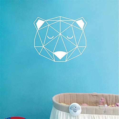 Nordischen Stil Bärenkopf Mit Dreieck Woodland Wandaufkleber Dekoration Geometrische Vinyl Wandtattoo für Kinderzimmer Kunstwand 3 37 * 43 cm