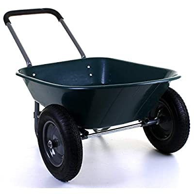 Marko Tools Wheelbarrow 80L/150KG Twin Wheel 2 Pneumatic Tyres Large Hopper Stable Garden