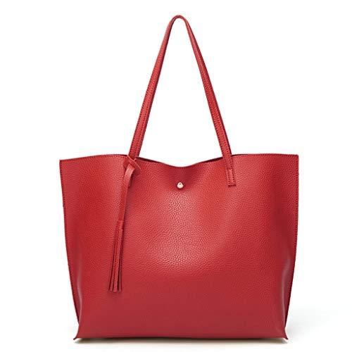 REALIKE Damen Handtasche PU-Leder Umhängetasche Hochwertigem Schultertasche Kunstleder Messenger Tasche Einkaufstasche Mit Quasten Reisetaschen Ngetasche Messenger Tasche
