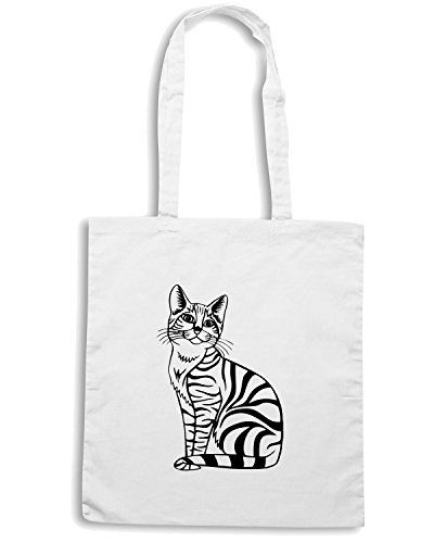 T-Shirtshock - Borsa Shopping FUN0955 cat cats animal animals vinyl decal sticker 13 26111 Bianco