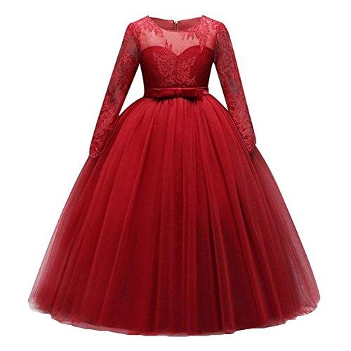 Prinzessin Kleid Maxi Spitzen Kleid Fest Kinder Blumenkleid Lange Ärmel Hochzeit Brautjungfer Kommunion Party Kostüm Abendkleid Ballkleid Für Mädchen 3-14 Jahre