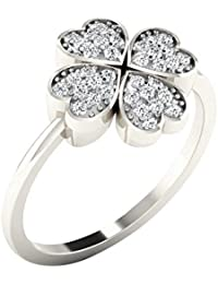 Silvernshine 0.18 Cts Round Cut Sim Diamond Heart Shape Flower Ring In 14KT White Gold PL