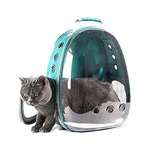 Mochila portátil para gato, perro, mascota, bolsa de transporte con ruedas, transparente, transpirable, para viaje, senderismo, camping, bolsa de transporte para gato, astronauta, vista elegante