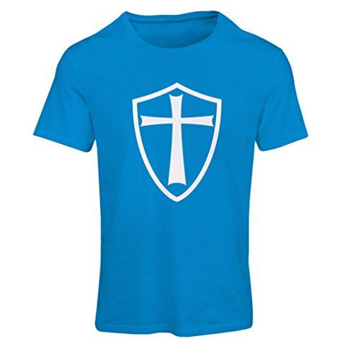 Frauen T-Shirt Ritter Templer - Die Templer Schild Christian Ritter Ordnung (X-Large Blau Weiß)