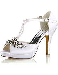 Wuyulunbi  Scarpe donna raso elasticizzato estate della pompa base scarpe  matrimonio Stiletto Heel Peep toe a45b825bfad