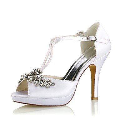 Wuyulunbi @ Chaussures Femme Élastique Stretch Été Pompe Base Chaussures De Mariage Stiletto Talon Peep Toe Cristal Boucle Pour Party & Robe De Soirée Blanc