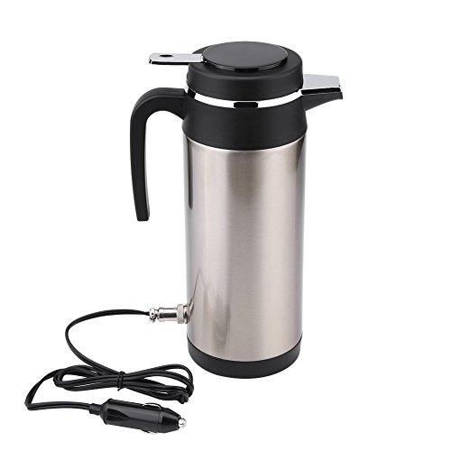 Keenso 1200ml 12V Edelstahl Elektro Wasserkocher Heizung Trinkbecher Becher Flasche Reisen für Tee Kaffee Milch