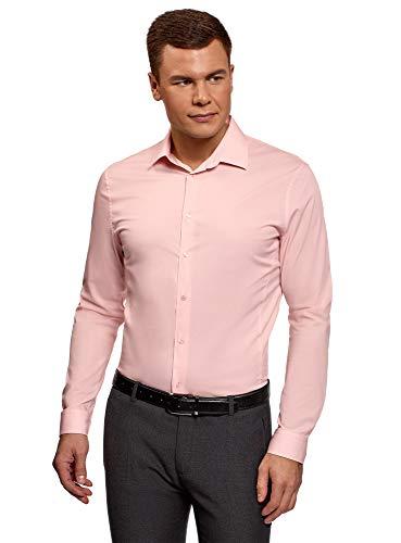 oodji Ultra Herren Langarm-Hemd Basic, Rosa, Herstellergröße 41 (Kragenweite 41 cm)/ DE 41 / M