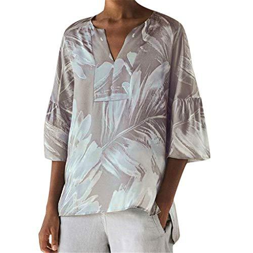 Hanomes Damen drucken Bluse Damen Drucken Shirt Kurzarm V-Ausschnitt Retro Tops Damen Oberteile Kurzarmbluse Tunika Oberteile T-Shirt V-Ausschnitt Tops -