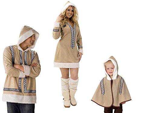 Kostüm Eskimo, Familien-Kostüm, Eskimokind, Eskimofrau, Eskimomann, verschiedene Ausführungen (Eskimofrau Gr. 40)