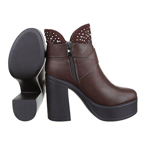 Ital-Design High Heel Stiefeletten Damen Schuhe Schlupfstiefel Pump Strass Besetzte Reißverschluss Stiefeletten Braun