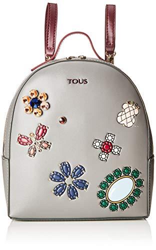 Tous Mochila Teatime Jewel, Bolso Mujer, Multicolor (Gris/Vino), 9x25x21 cm (W x H x L)