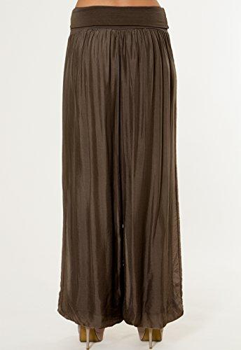 CASPAR KHS010 Damen elegante lange Seiden Chiffon Marlene Hose / Hosenrock mit hohem Stretch Bund, Farbe:dunkelbraun - 5