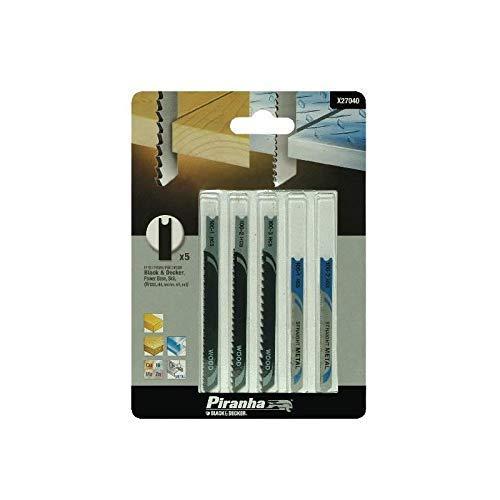 BLACK+DECKER X27040-XJ - Set de 5 hojas para caladora, corte en madera y metal