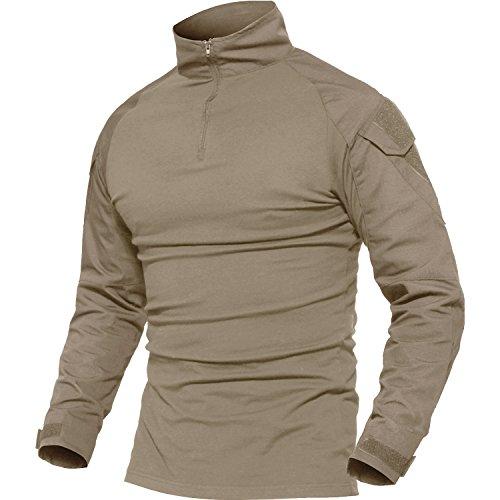 MAGCOMSEN Taktisch Militär Herren Camo Kampf T-Shirts Lange Ärmel Ripstop Elastisch Trainieren T-Shirts Reißverschluss Khaki