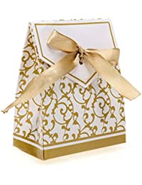 NiceButy Fiesta de la Boda Caja de Regalo del Favor de Las Cajas del Caramelo 100 Piezas con Cinta de Oro Cajas del Favor de la Boda de Productos para el Hogar