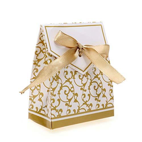 (NiceButy 100Pcs Gift Box Hochzeitsfestbevorzugung Süßigkeit-Kästen mit Goldband Hochzeitsbevorzugungskästen Haushaltsprodukte)