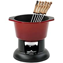 Chasseur Set per fonduta in ghisa, colore: Rosso