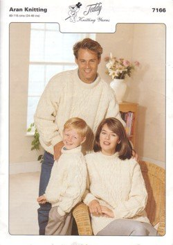 Teddy Knitting Pattern, Family Arans, Sizes 24-26