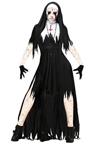 Zygeo - Halloween Nonne Cosplay Frauen-Schwarz-Vampir Fantasie Kleid -