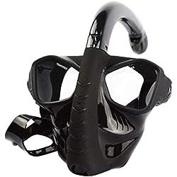 TMY Plein Visage Masque de plongée sous-Marine Tuba Chasse sous-Marine équipement de plongée sous-Marin Anti-Brouillard plongée en apnée pour la Natation (Color : Black)