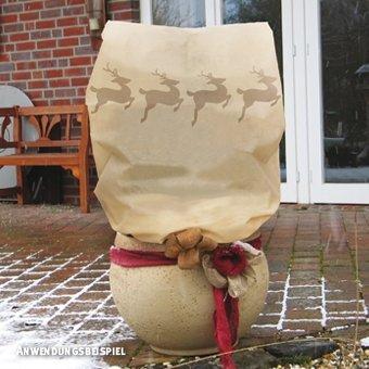 Videx-Winterschutz Vlieshaube mit Rentieren, beige/braun, 90 x 110cm