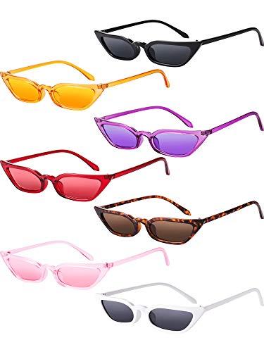 Zhanmai Retro Kleine Katzen Auge Sonnenbrille Vintage Square Shade Damen Netter Dünner Katzenauge Eyewear (7 Paar)