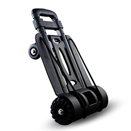 Reise-kleiner Anhänger, vier-fahriger faltender Gepäck-Wagen-Laufkatze-Einkaufswagen, der 75KG schwarz trägt (Leichtes Gepäck-karre)