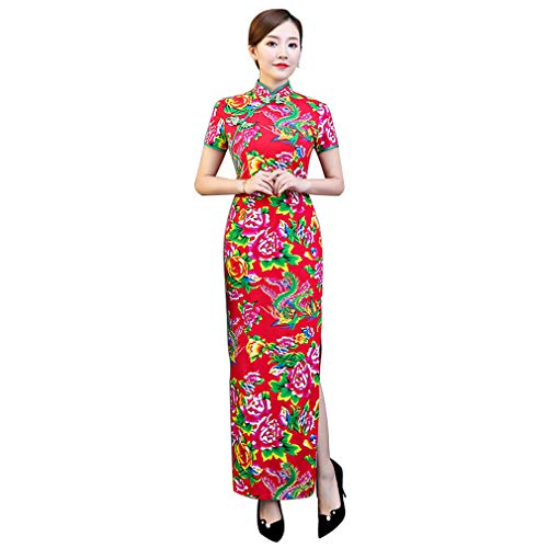 YAN Women es Long Dress Polyester Fashion Ladies ' Clothing Short Sleeve Stand Collar Flower Slim Cheongsam Kostüm Oriental Wedding Outfit,1,XXL