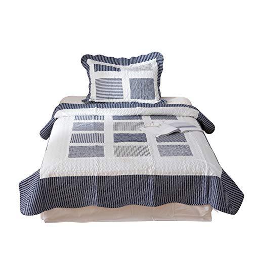 QZY Tagesdecke grau 160 x 240cm mit 1 Kissenbezug 50 x 75cm geeignet für das ganze Jahr,100%...