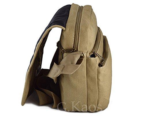 Ormi by G. Kaos–Tasche Herrentasche Schulterriemen verstellbar Stoff Canvas mit Handyfach–Multipocket 3348 Piccolo - Medio 3348-Mil.Green 3348-Sand