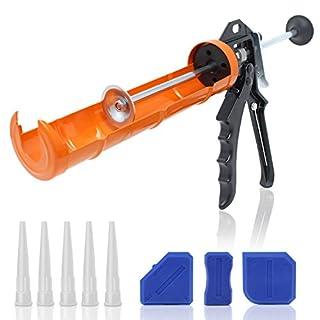 Amazy Caulking Gun incl. 5 nozzles + 3 scrapers - Refillable sealant gun for applying silicone based caulk, acrylic, and adhesives (fits all standard 310 ml cartridges) - thrust ratio 12:1