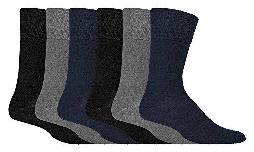 IOMI - 6 pares hombre sin elasticos diabeticos calcetines para la circulacion, Black/Navy/Grey, 39-45 eur