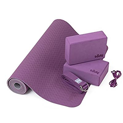 "Yoga-Set ""Flow"", 1 Yogamatte aus TPE, 2 Yoga-Bricks aus EVA (Moosgummi), 1 Yoga-Gurt aus Baumwolle, Einsteiger-Set für Yoga-Anfänger"