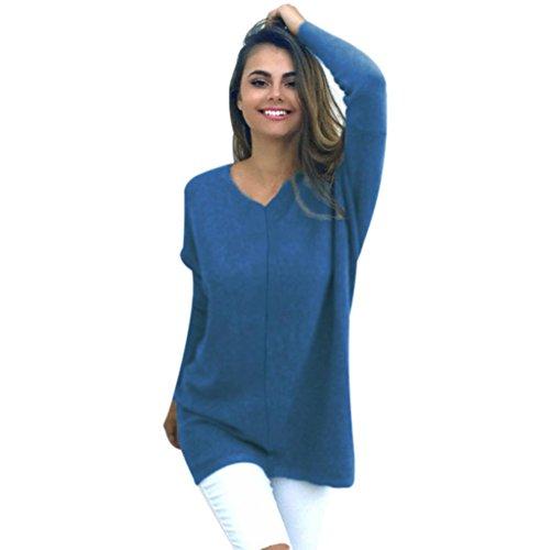 Damen Pullover Sweatshirt Tops Bluse Ronamick Sexy Einfarbig Casual Lange Ärmel Baumwoll Mischung Herbst Winter Warm (Blau, S) (Strickjacken Bekleidung Herren Pullover)